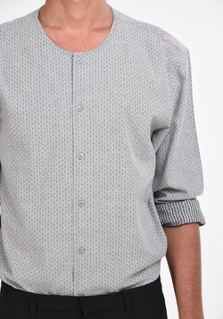 LONG SLEEVED SHIRT WITH SHOULDER PATCHES - GREY