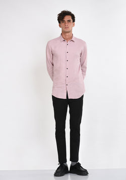 LONG SLEEVED LINEN SHIRT WITH DARTS - MAUVE