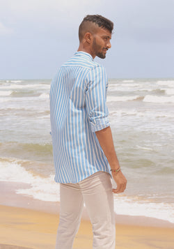 Long Sleeved Striped Chambray Shirt