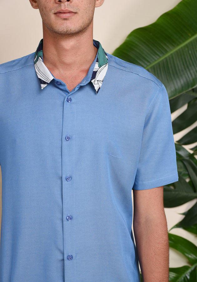 SHORT SLEEVED COTTON SHIRT - BLUE