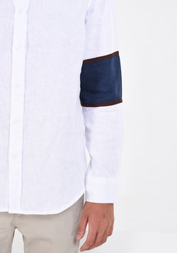 LONG SLEEVED LINEN SHIRT WITH SLEEVE PATCHES - WHITE