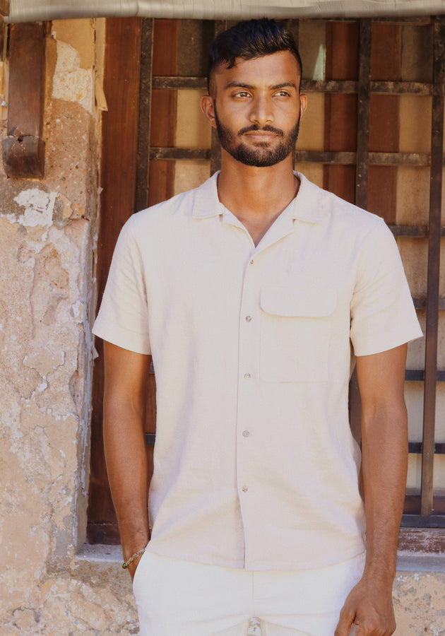 Short Sleeved Camp Collar Shirt With A Flap Pocket