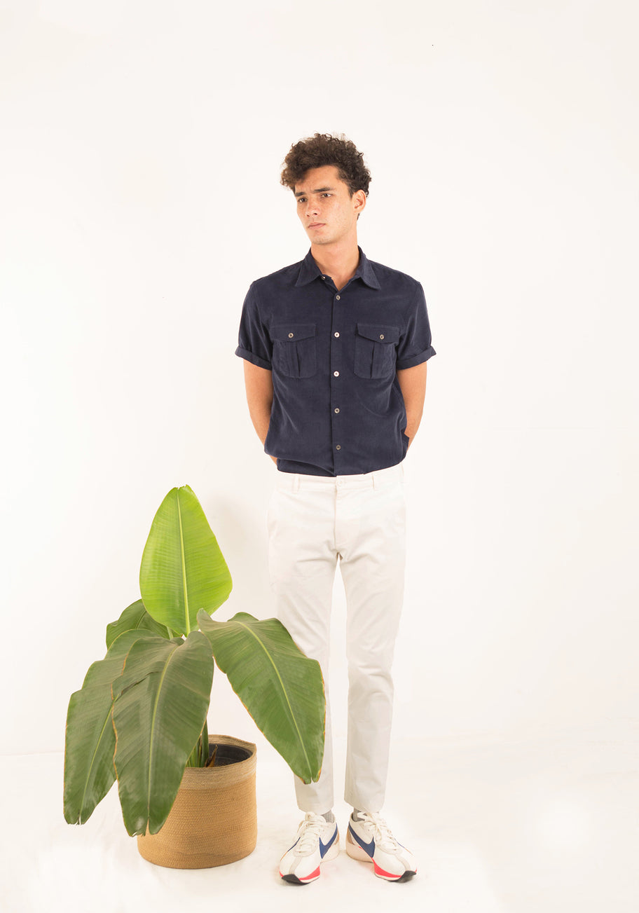 SHORT SLEEVED CORDUROY SHIRT