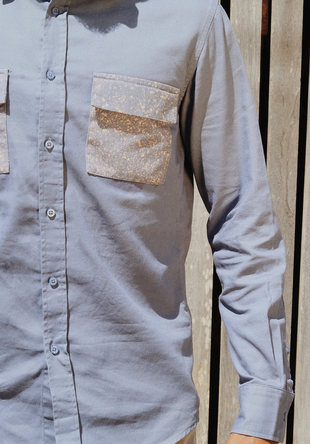 Long Sleeved Shirt With Bleached Flap Pockets