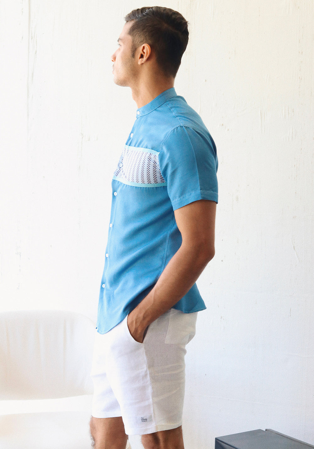 Short Sleeved Shirt with Chinese collar