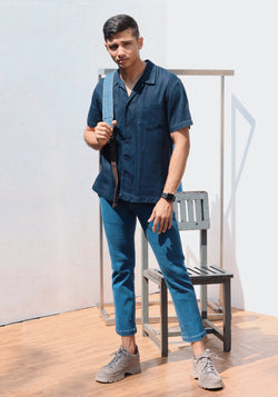 Short sleeve Denim camp collar shirt