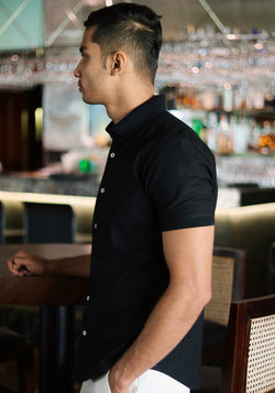 Short Sleeved Shirt with Rib Collar