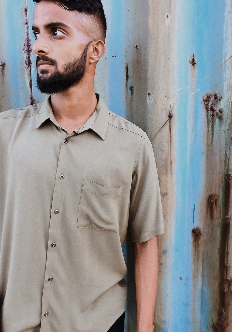 Short Sleeved Relaxed Fit Viscose Shirt