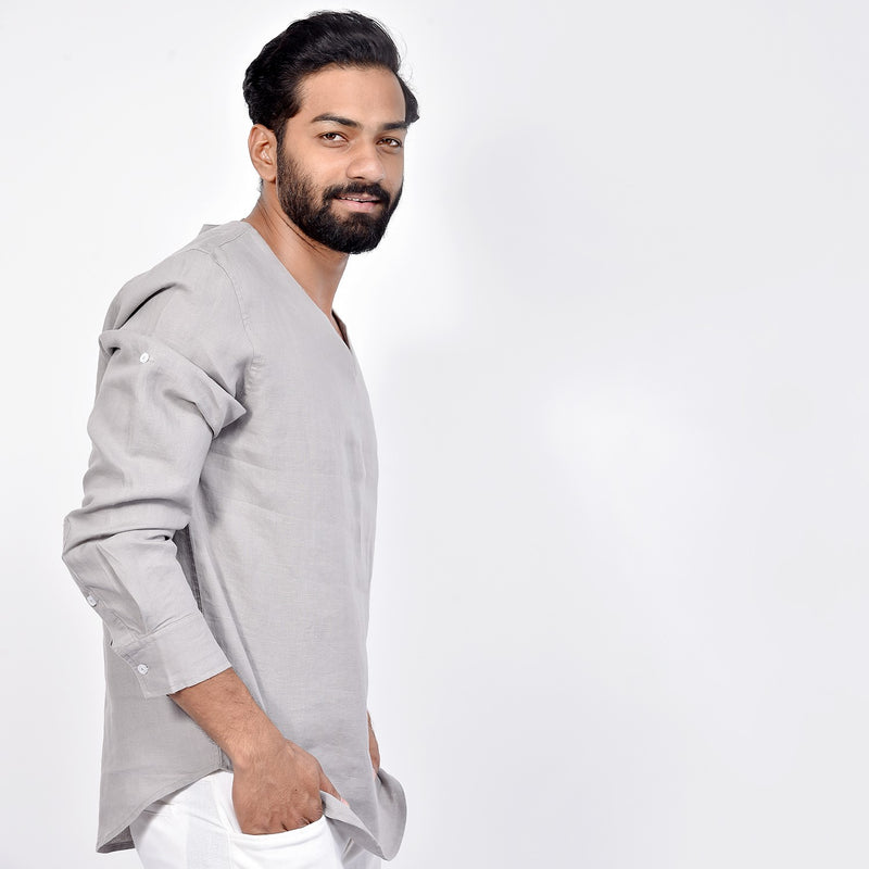 LONG SLEEVED V-NECK LINEN SHIRT