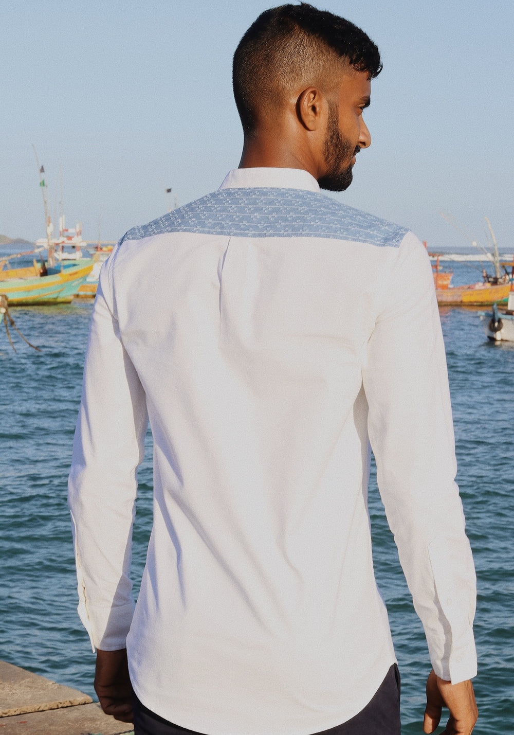 Long Sleeved Shirt With Contrast Back Yoke