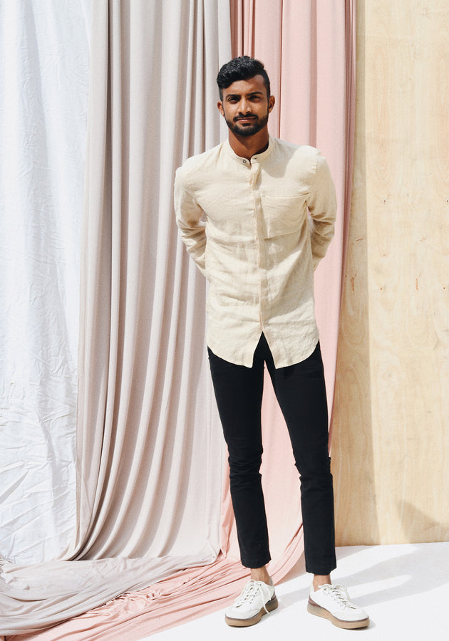 Long Sleeved shirt with Mandarin collar