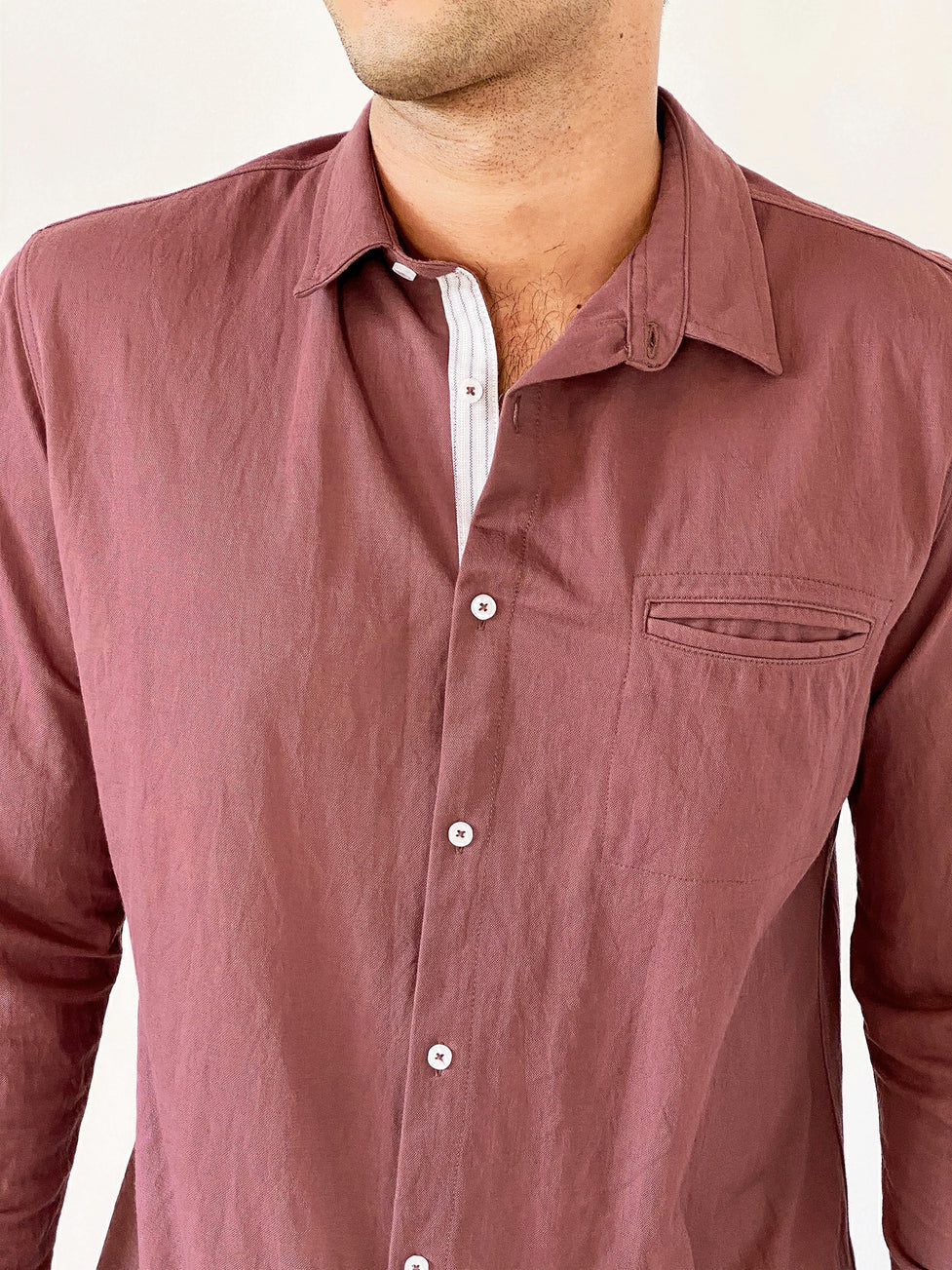 Long Sleeved Jersey Shirt with Contrast Placket