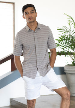 Short Sleeved Slim fit Stripe Shirt