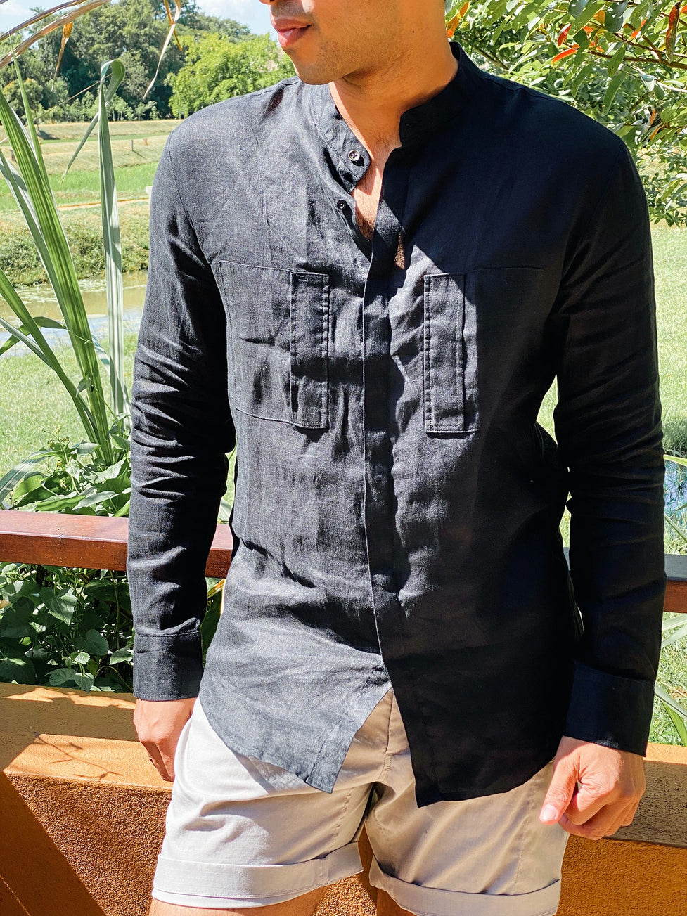 Linen Shirt with Twin Pocket