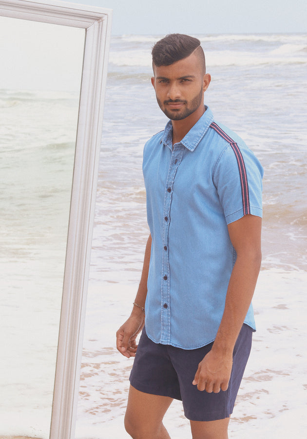 Short Sleeved Chambray Shirt with Grosgrain Detail