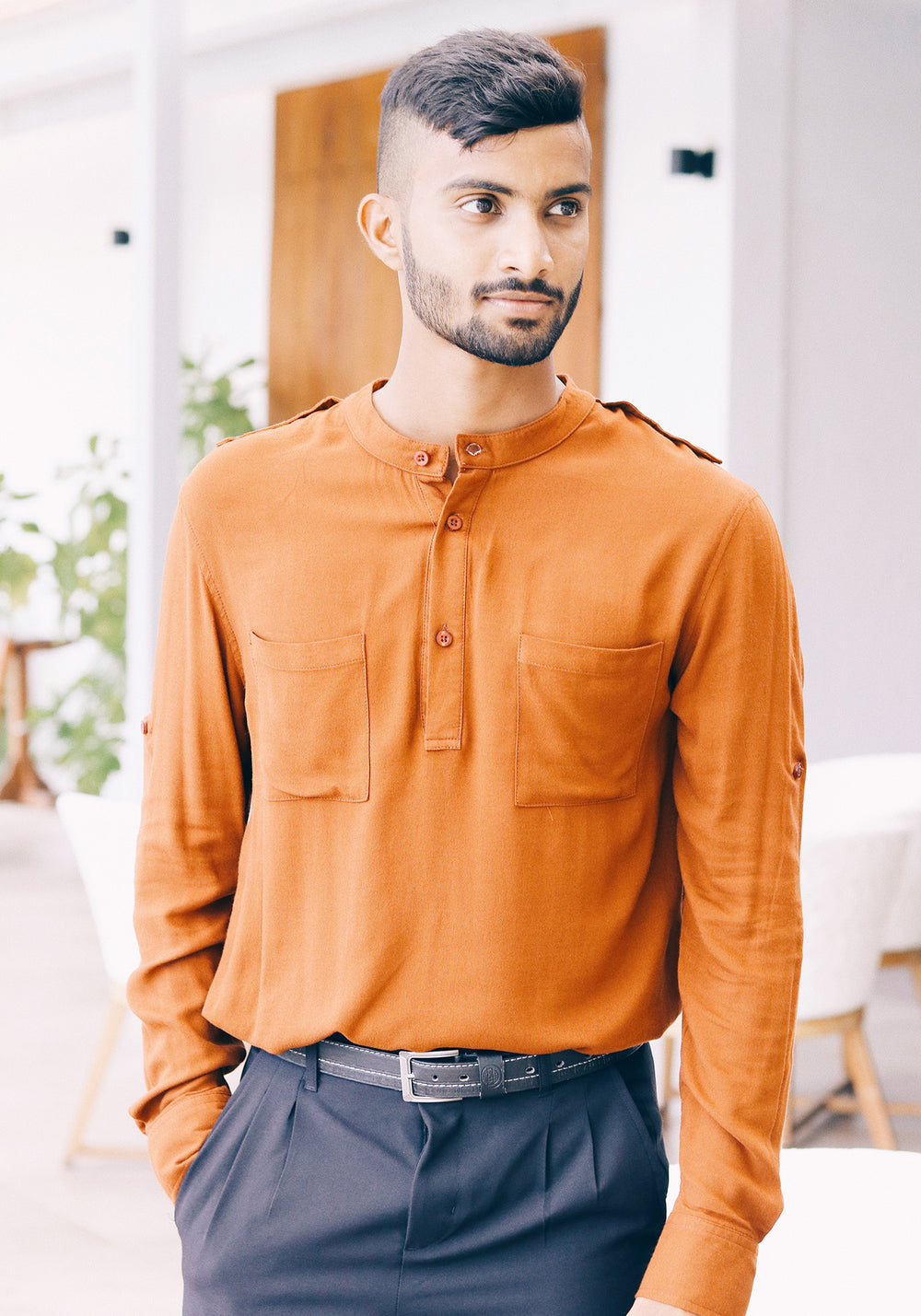 Long Sleeved Mandarin Collar Viscose Shirt Sleeve Tabs and Shoulder Tabs