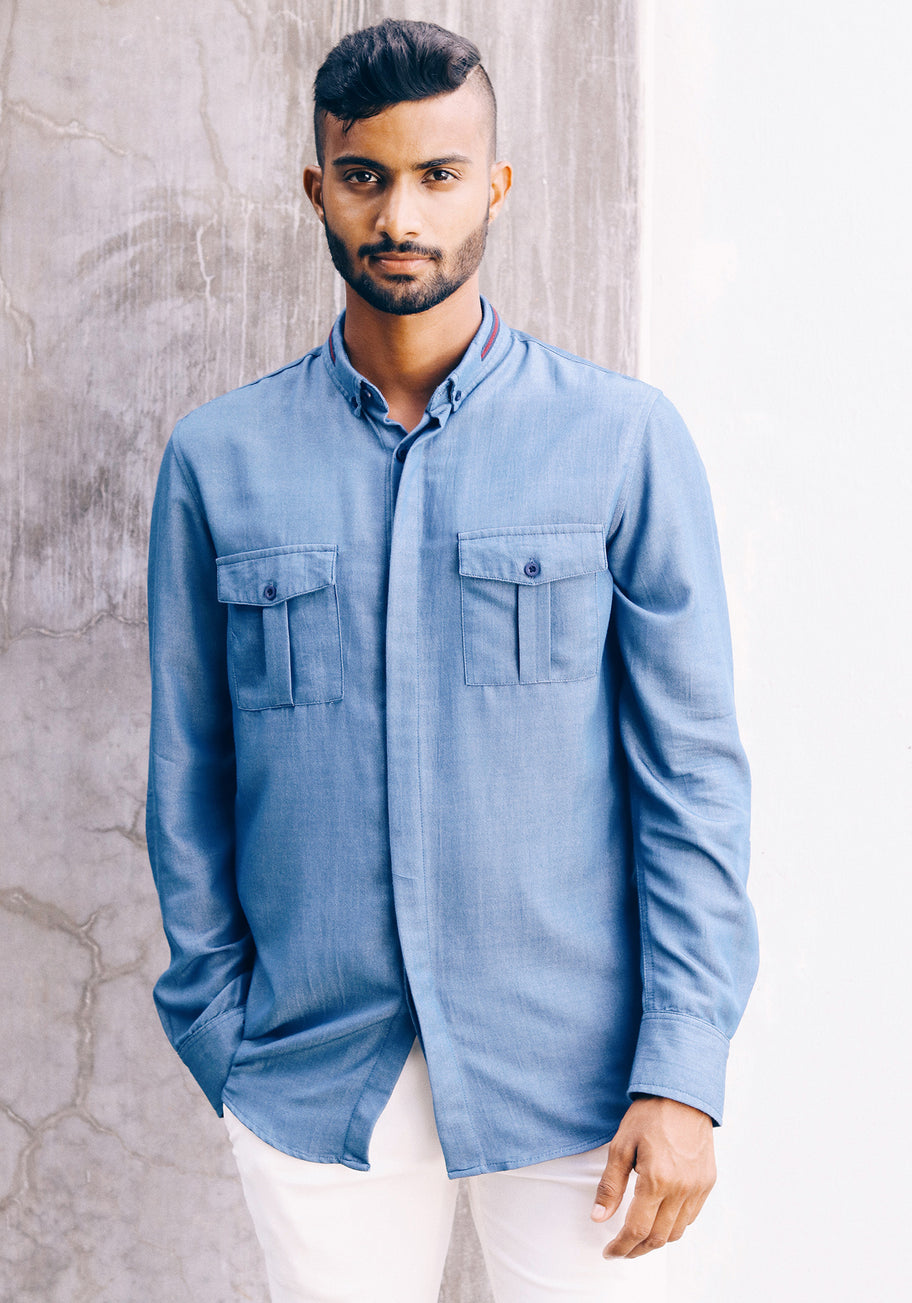 Long Sleeved Shirt with contrast details-Blue