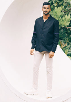 Long Sleeved shirt with Henley collar