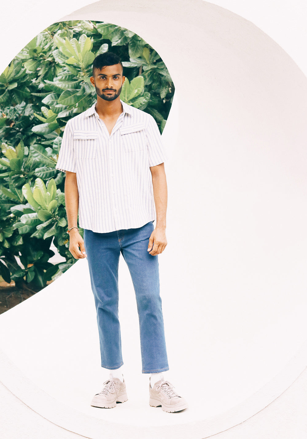 Relaxed fit Short Sleeved Striped Shirt with slanted chest pockets