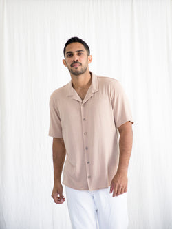 Short Sleeved Jersey Camp Collar Shirt
