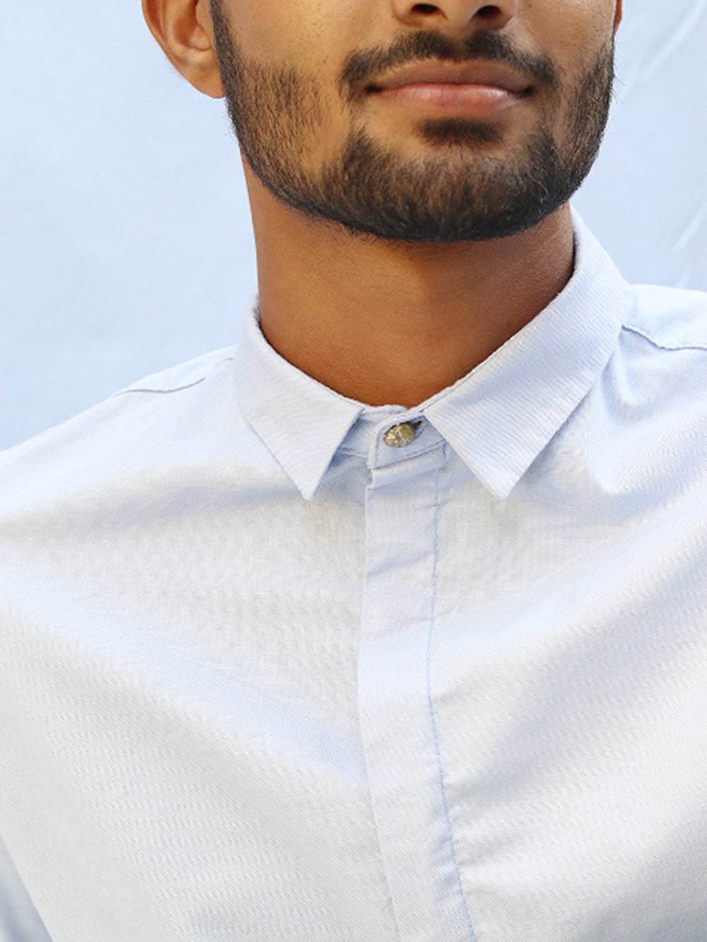 Long Sleeved Oxford Shirt with a Hidden Button Closure