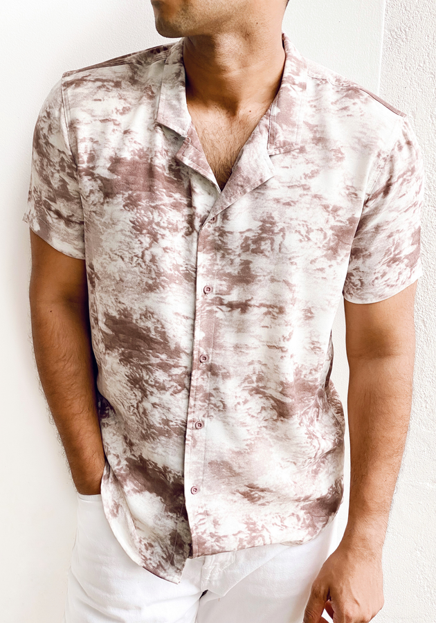 Short sleeve camp collar printed shirt