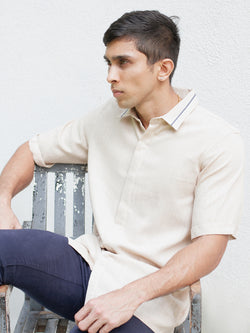 Regular Collar Shirt With Piping Detail