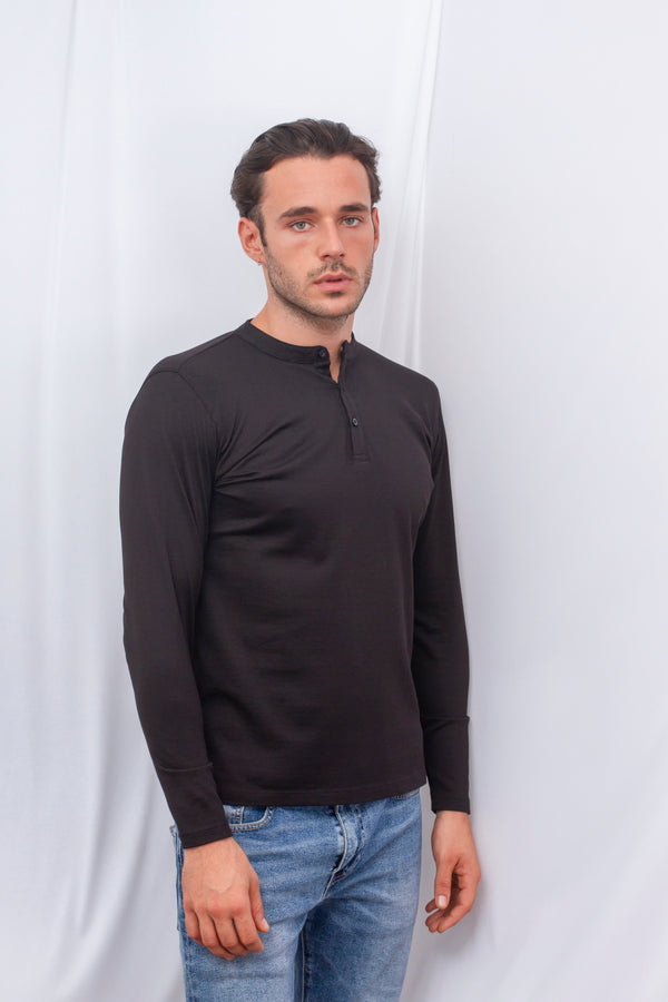 Long Sleeved Henly Collar T-shirt