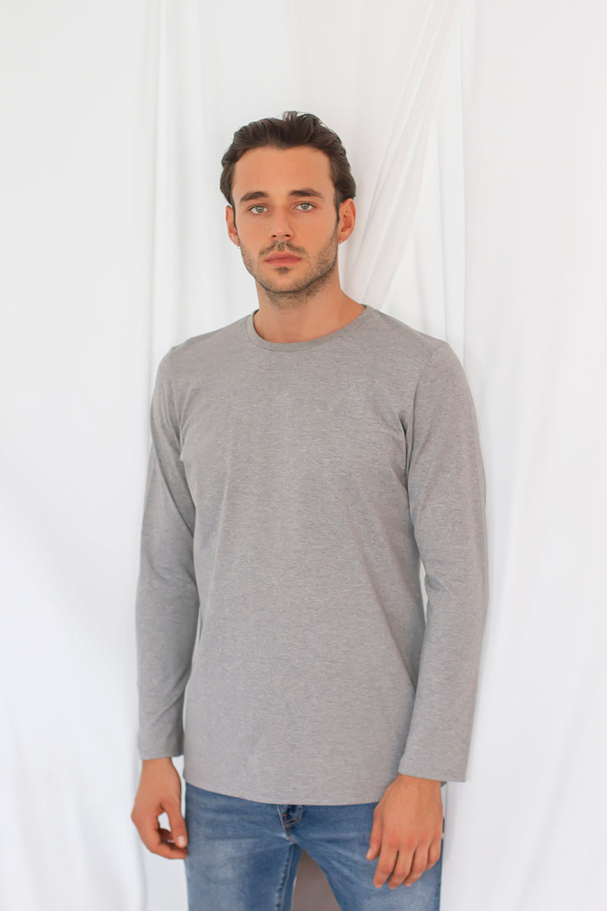 Regular Long Sleeved Crew Neck T-Shirt