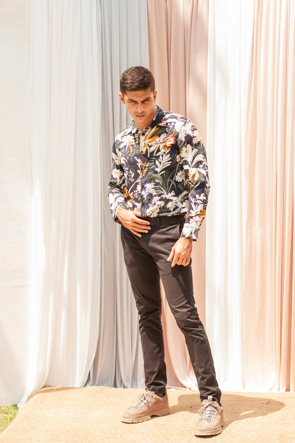 Long Sleeved Printed Regular Collar Shirt