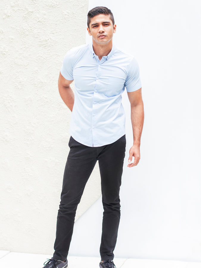 Short sleeved regular button down collar shirt
