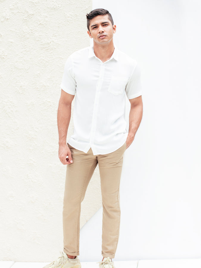 Short Sleeved Regular Collar Shirt