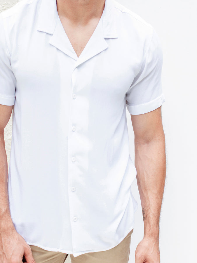 Short Sleeved Camp Collar Shirt