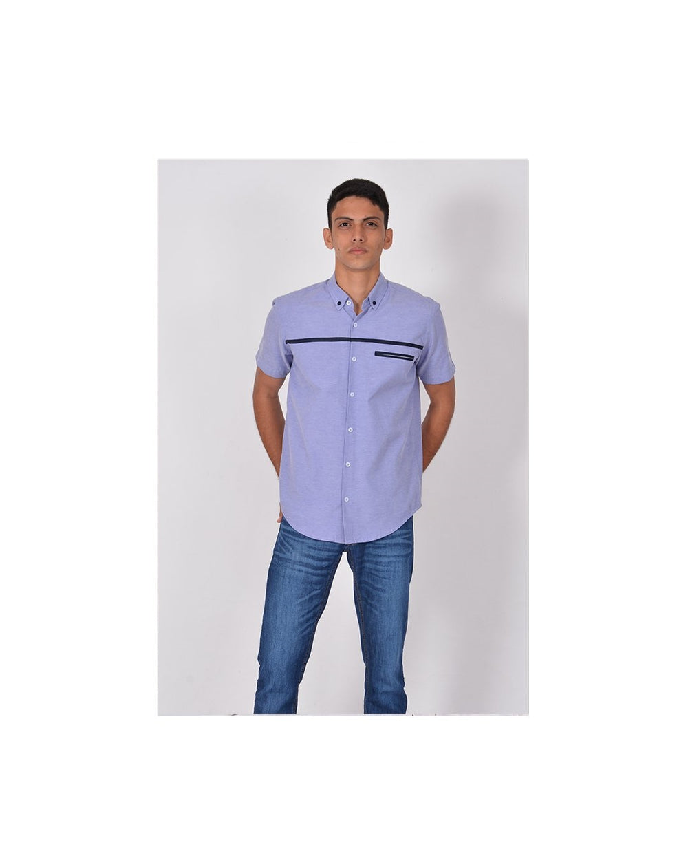 Short Sleeve shirt with front contrast welt pocket detail