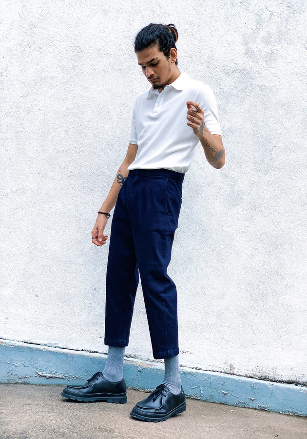 Three quarter pant with pleats