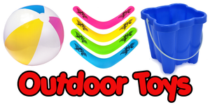 A range of outdoor and garden toys including boomerangs, buckets and spade sets, bubble machines and much more.