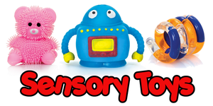 Squeezy, Stretchy, Flashing and Puzzling Sensory Toys.