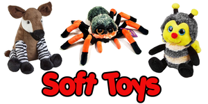 A large range of cuddly soft toy plush animals from Aardvarks to Zebras.