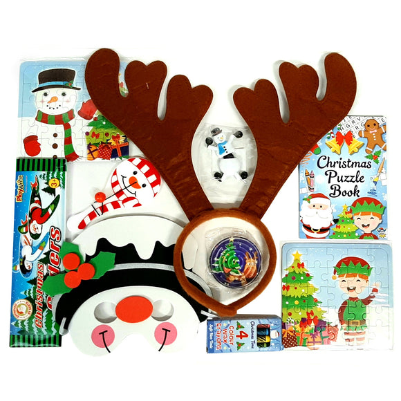 Christmas Activity Set - Stocking fillers - puzzles, crayons, mask, antlers