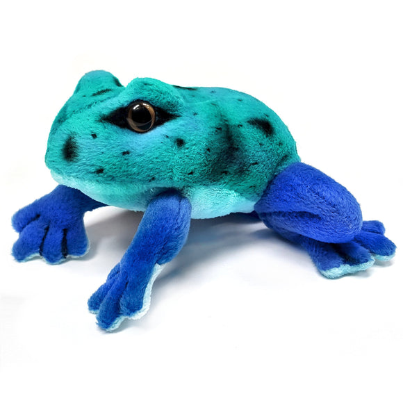 13cm Blue Frog Cuddly Plush Soft Toy, suitable for all ages
