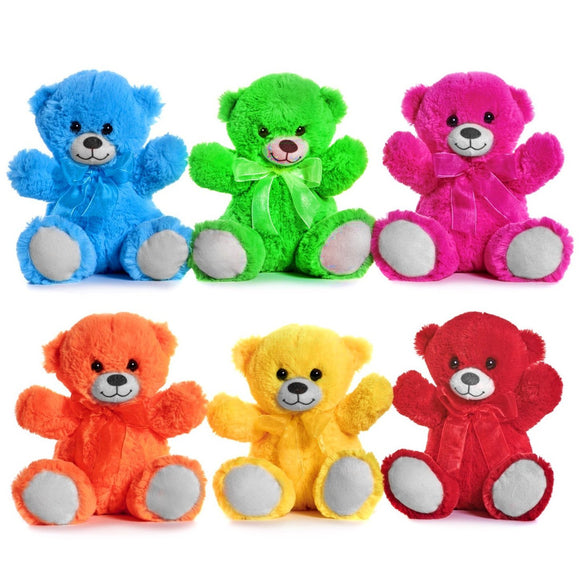 Brightly Coloured 21cm Teddy Bear Cuddly Plush Soft Toys, Choose Your Favorite Colour, Gift Party Bags Fundraising, Teddy Bears Picnic