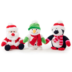 30cm Tall Santa, Snowman and Penguin Christmas Plush Toy Gift and Decoration Set