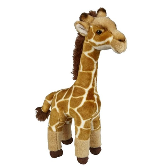 This Giraffe cuddly plush toy measures 45 cm and is suitable for all ages. The Giraffe will stand without support.  CE tested and certified and made from high quality materials delivering you a superb product that will be cherished for years.  The super soft filling is made from recycled PET.
