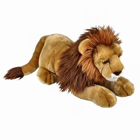 This large Lion with a fantastic mane cuddly soft toy measures 50 cm and is suitable for all ages.  CE tested and certified and made from high quality materials delivering you a superb product that will be cherished for years.  The super soft huggable filling in this toy is made from recycled PET.