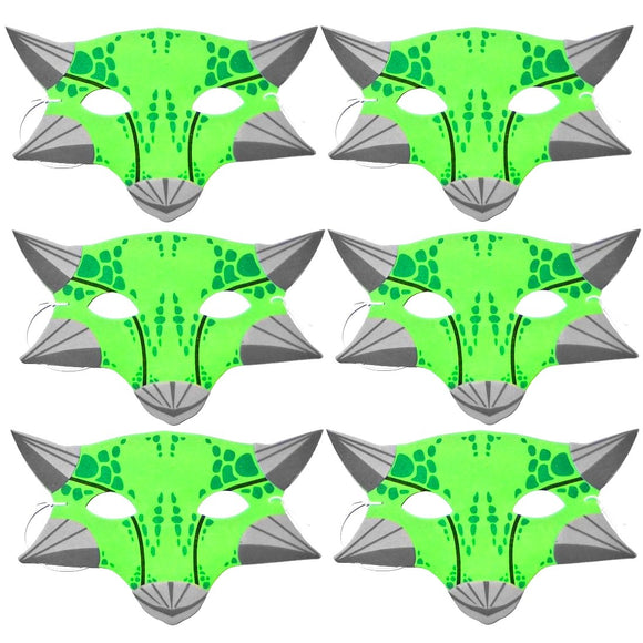 6 Green Ankylosaurus Foam Dinosaur Children's Masks ideal for schools, parties, theaters and groups