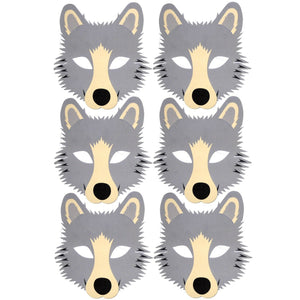 6 wolf foam masks for school's parties and groups