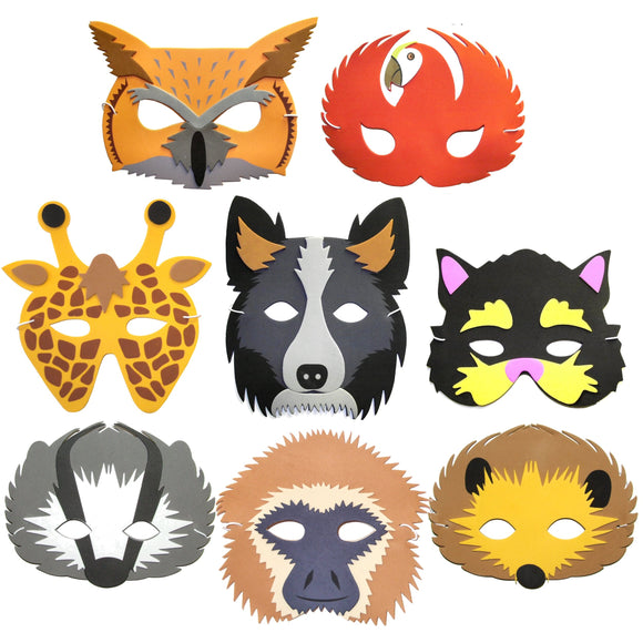8 Assorted Children's Face Masks for fancy dress party bags school
