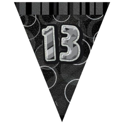 Black Glitz Age 13 Happy Birthday Flag Banner