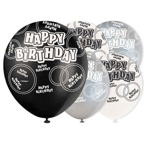 Pack of 6 Black Glitz Happy Birthday Latex Balloons