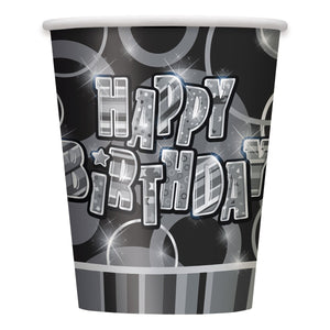 Pack of 8 Black Glitz Happy Birthday Paper Cups